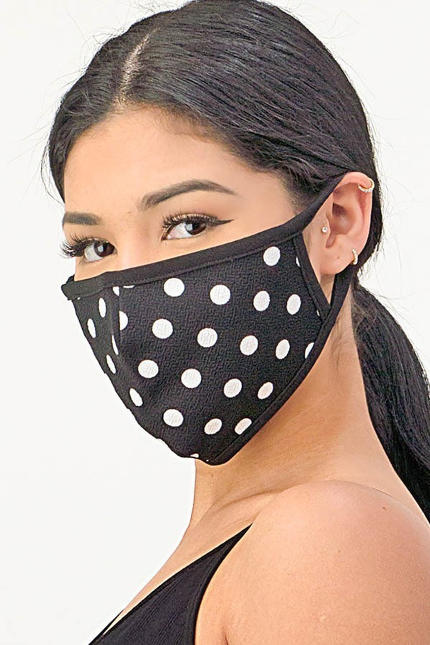 Turned front view of our Women's Crepe Polka Dot Face Mask - Made in the USA in White on Black.