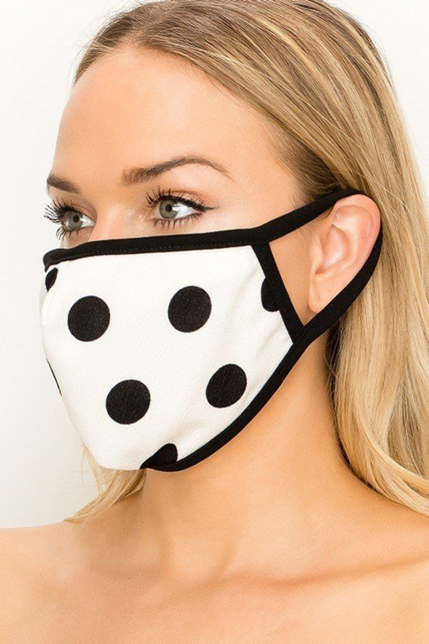 Partial front/left side view of Women's Crepe Polka Dot Face Mask - Made in the USA in Black on White.