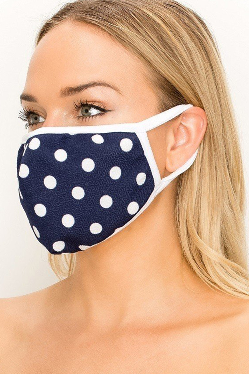 Partial front/left side view of Women's Crepe Polka Dot Face Mask - Made in the USA in White on Navy