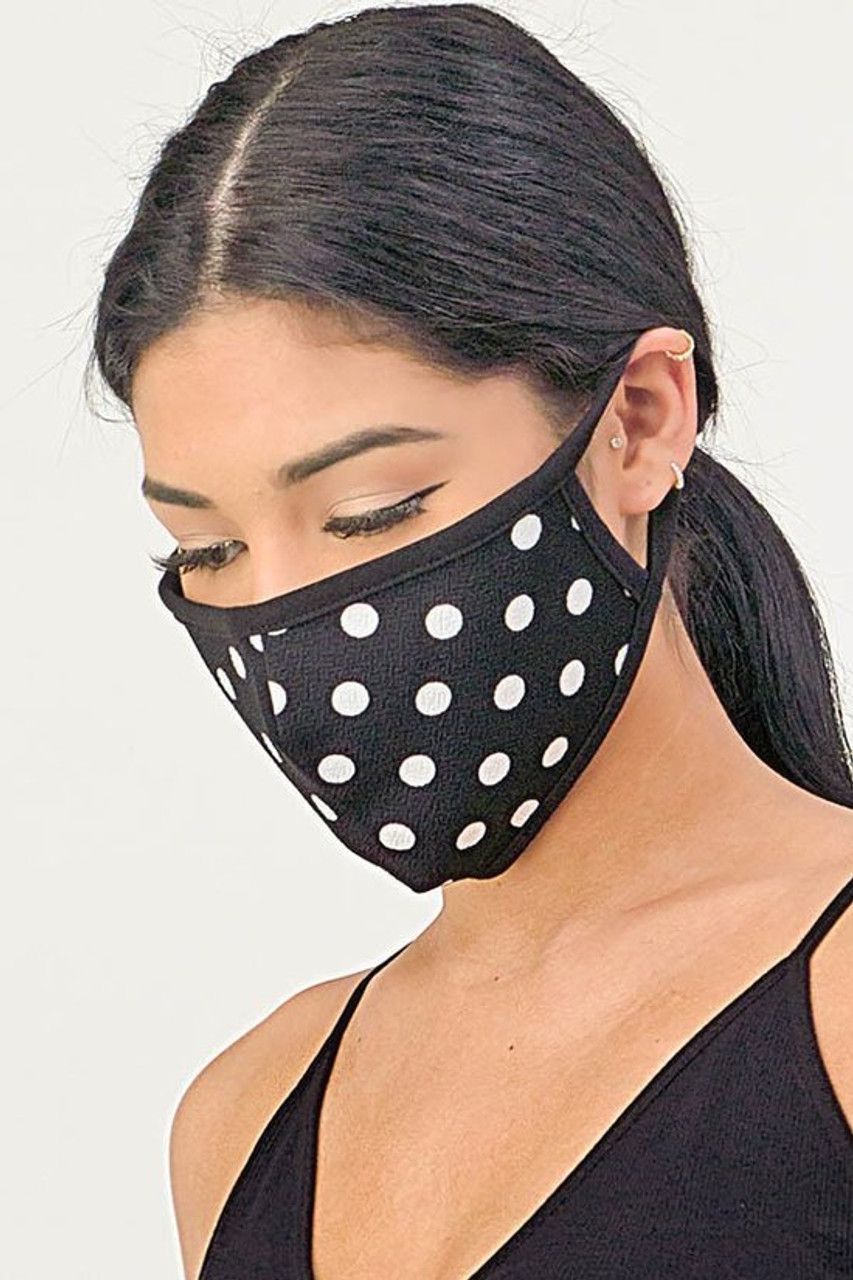 Left side/partial front of Women's Crepe Polka Dot Face Mask - Made in the USA in Black