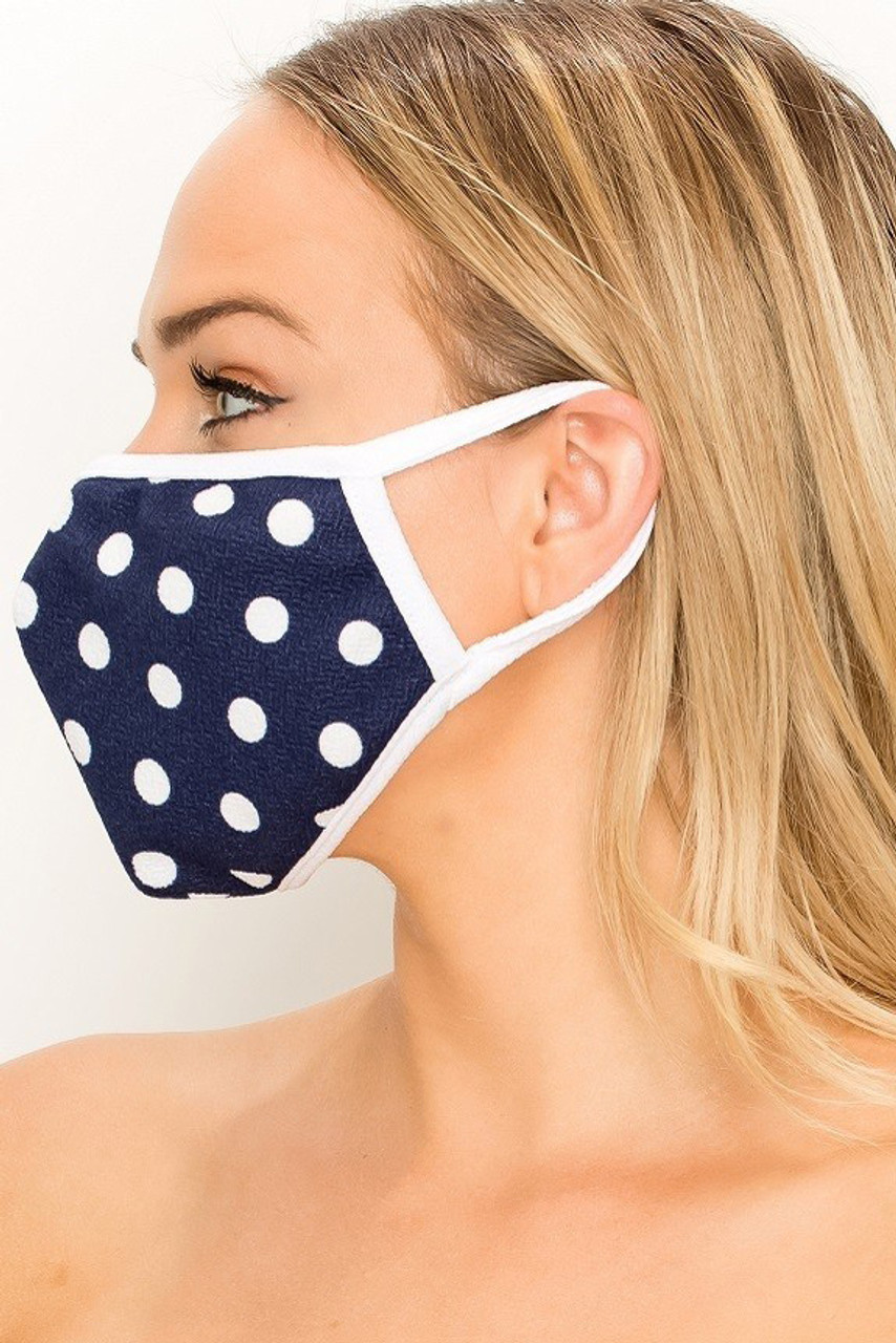 Left side view of Women's Crepe Polka Dot Face Mask - Made in the USA in Navy with white contrast elastic ear supports