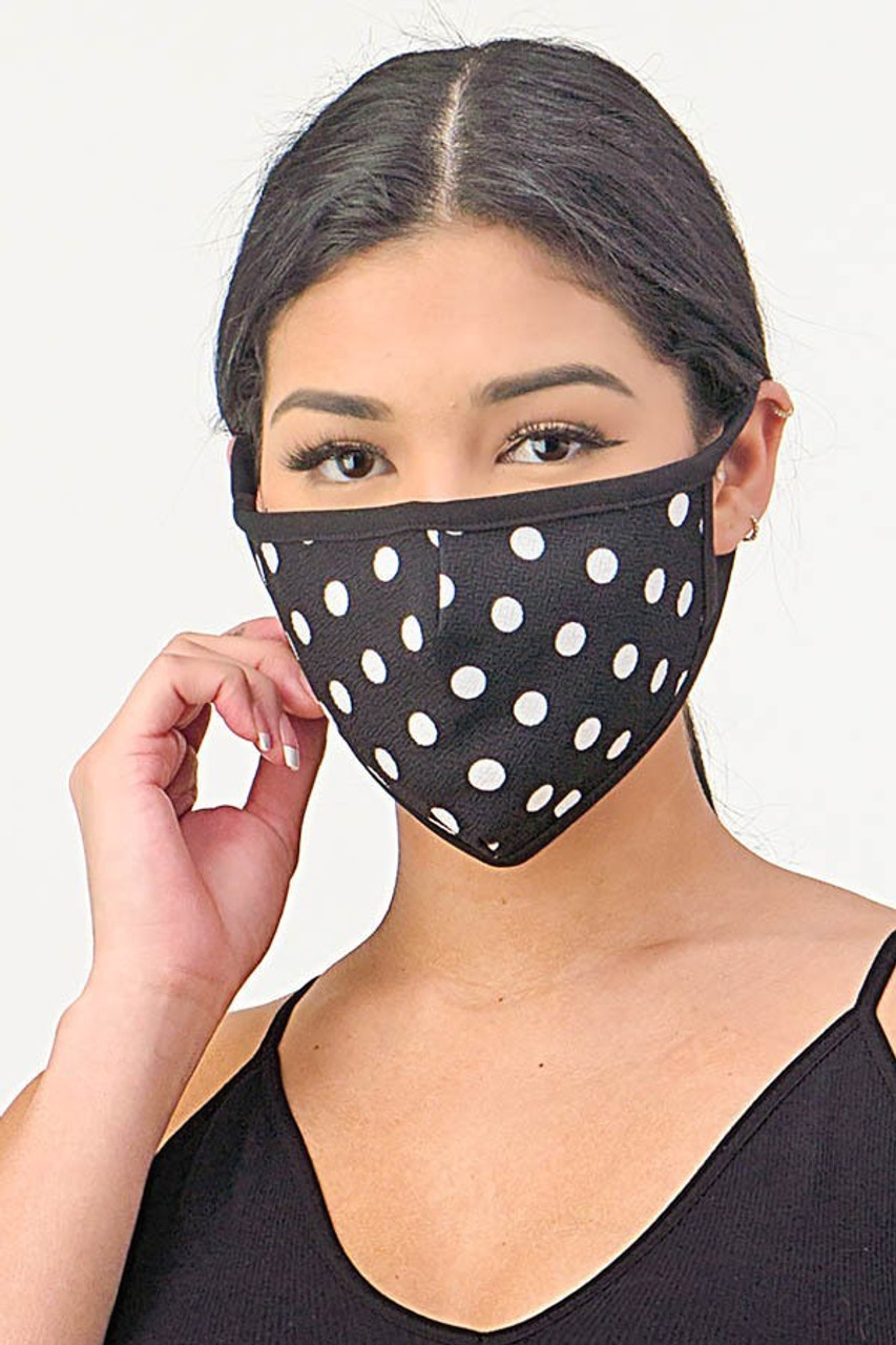 Front view of Women's Crepe Polka Dot Face Mask - Made in the USA in Black