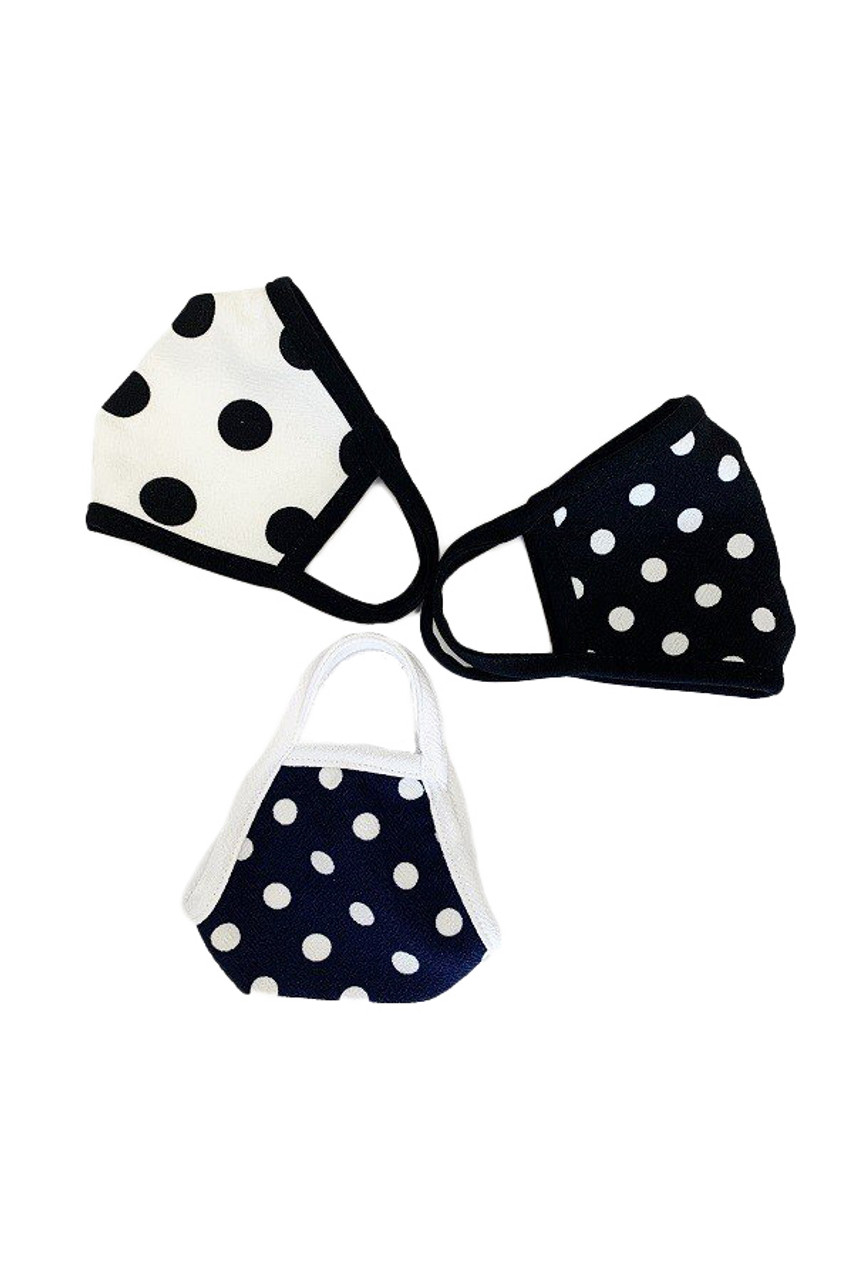 Side by side left folded view of  all three color options available for Women's Crepe Polka Dot Face Mask - Made in the USA
