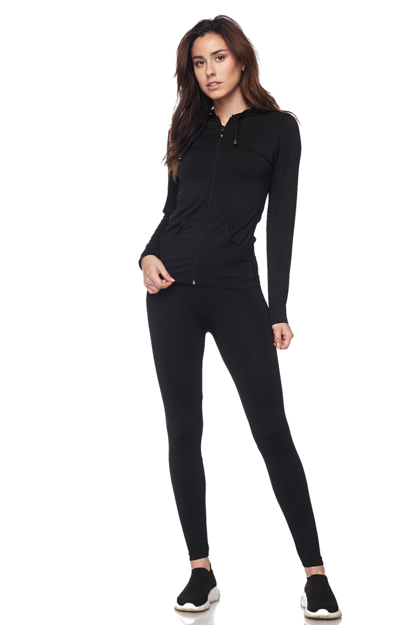 Front view of Black Premium Zip Up Hoodie Jacket and Legging Set