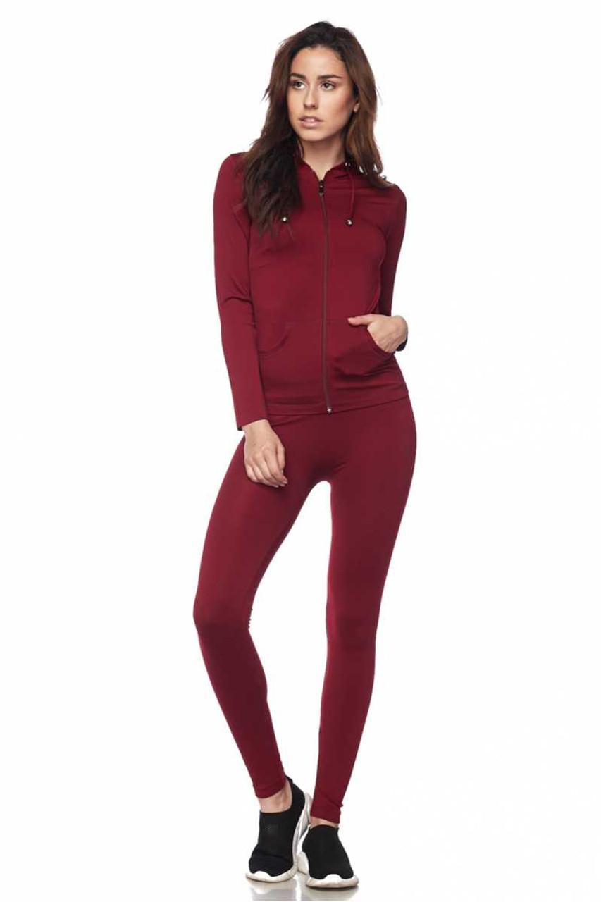 Front view of Burgundy Premium Zip Up Hoodie Jacket and Legging Set