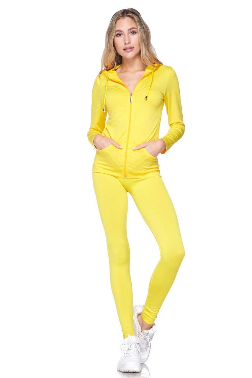 Front view of Yellow Premium Zip Up Hoodie Jacket and Legging Set