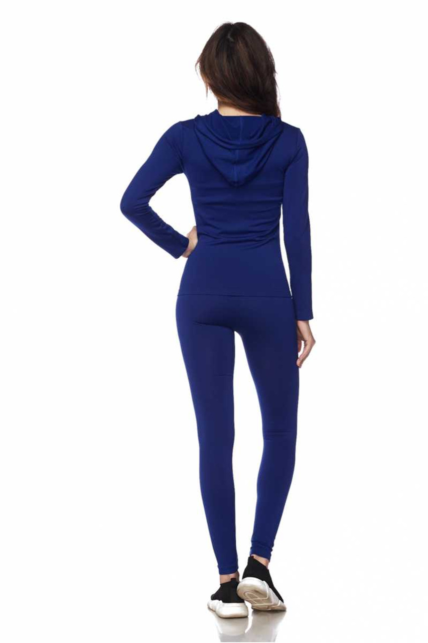 Back view of Blue Premium Zip Up Hoodie Jacket and Legging Set