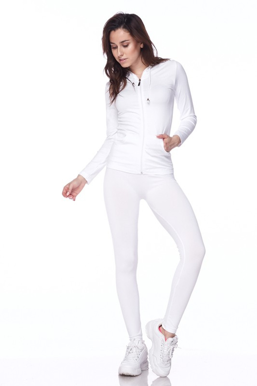 Front view of White Premium Zip Up Hoodie Jacket and Legging Set