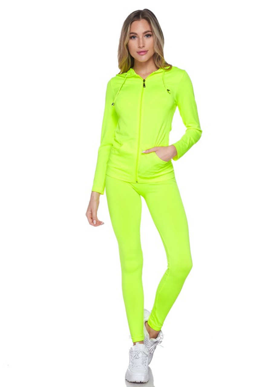 Front view of Neon Yellow Premium Zip Up Hoodie Jacket and Legging Set