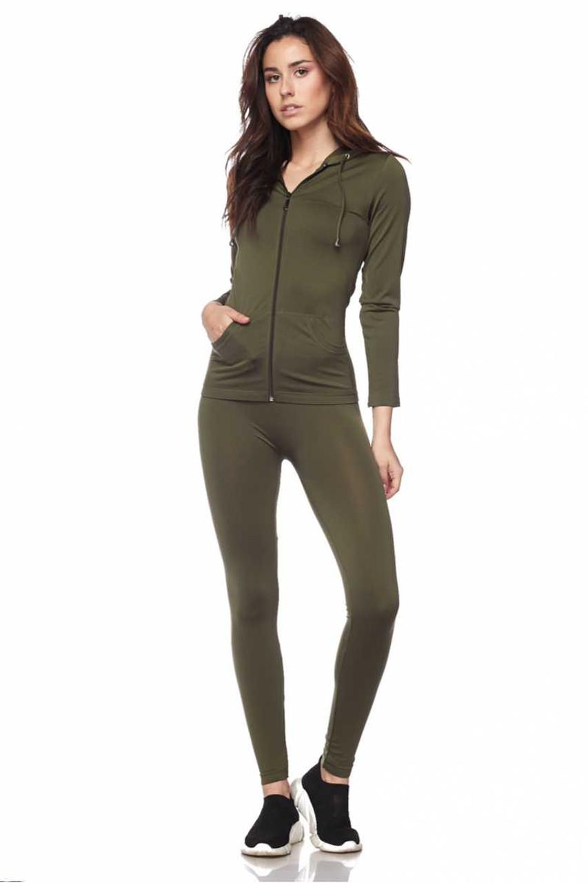 Front view of Olive Premium Zip Up Hoodie Jacket and Legging Set