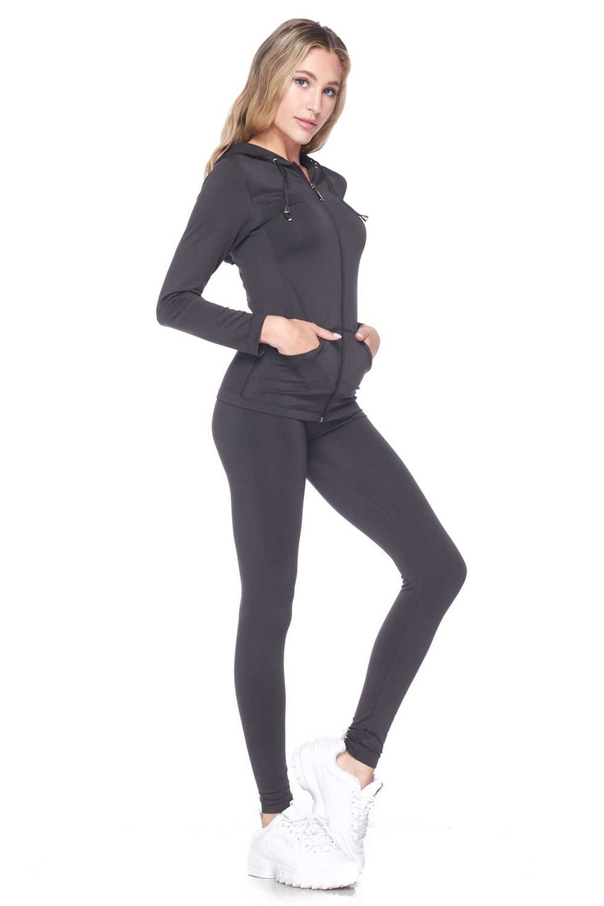 Right side view of Charcoal Premium Zip Up Hoodie Jacket and Legging Set