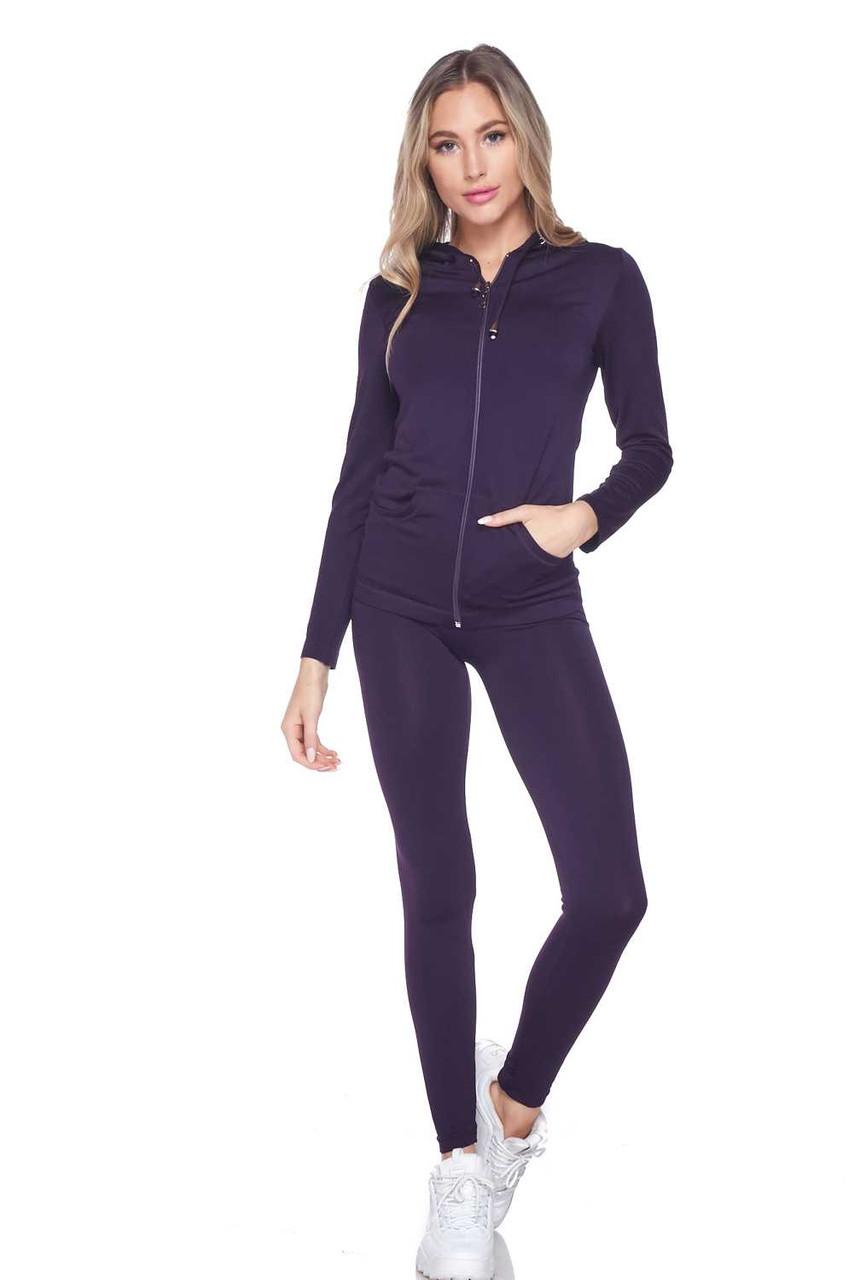 Front view of Purple Premium Zip Up Hoodie Jacket and Legging Set