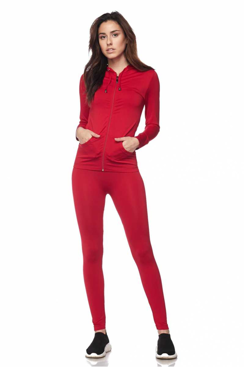 Front view of Red Premium Zip Up Hoodie Jacket and Legging Set