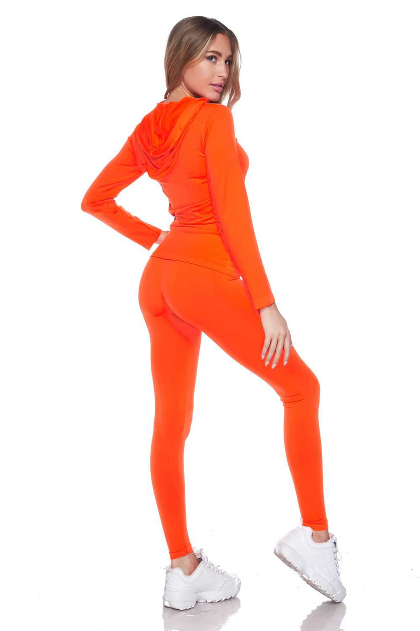 Partial back/right side view of Neon Orange Premium Zip Up Hoodie Jacket and Legging Set