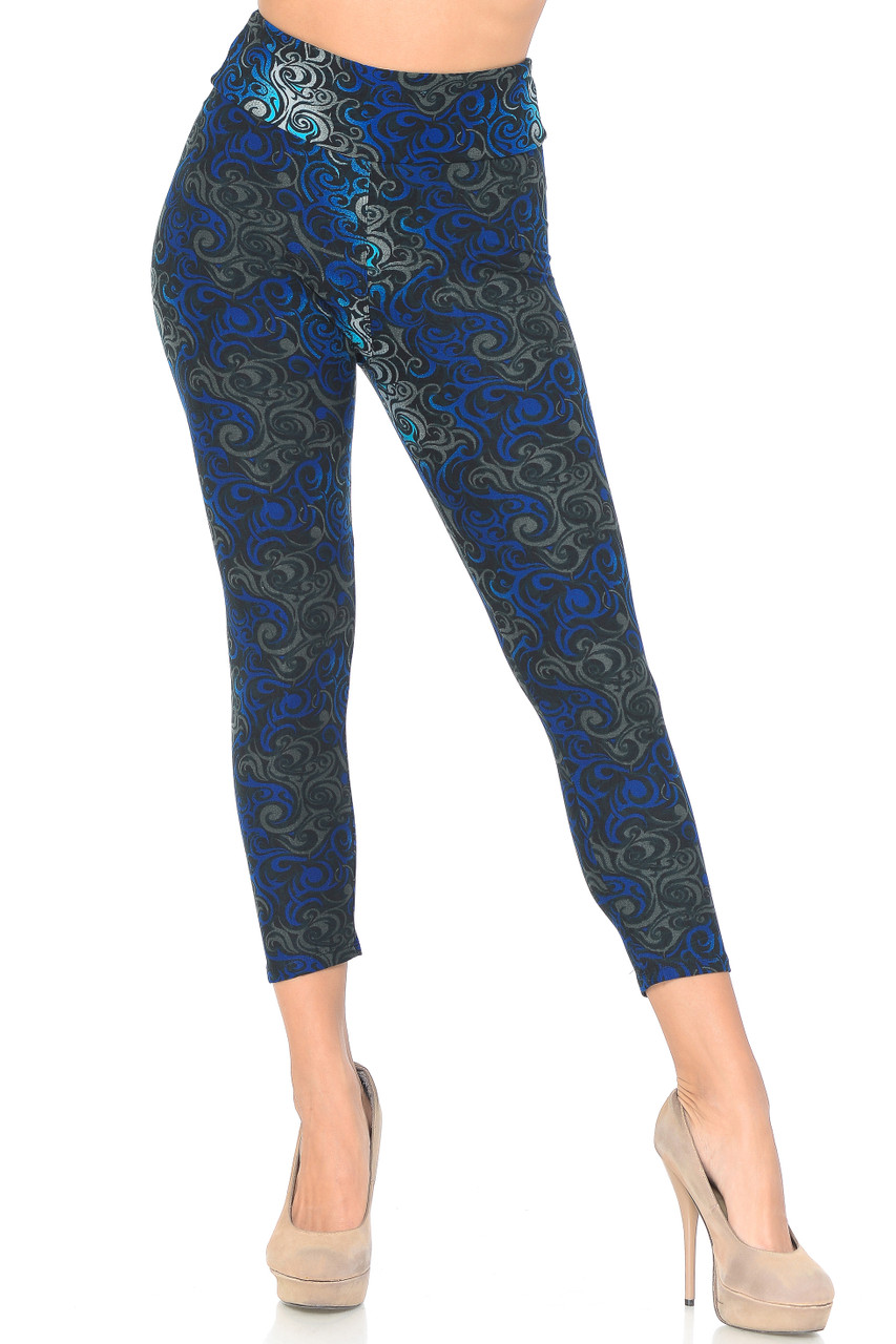 Front view of Blue Buttery Soft Tangled Swirl High Waisted Capri with a comfort fabric waist.