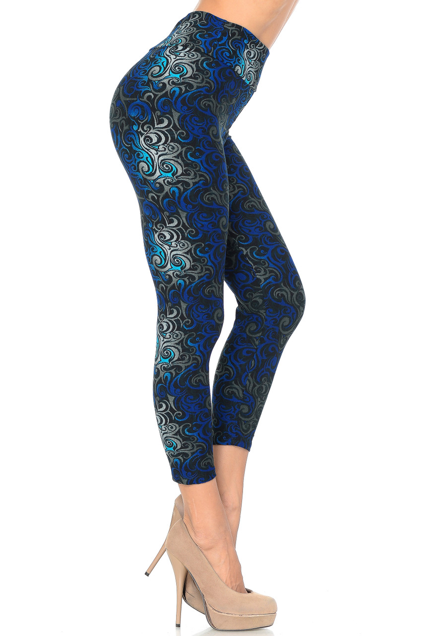 Right side view image of Blue Buttery Soft Tangled Swirl High Waisted Plus Size Capri - EEVEE