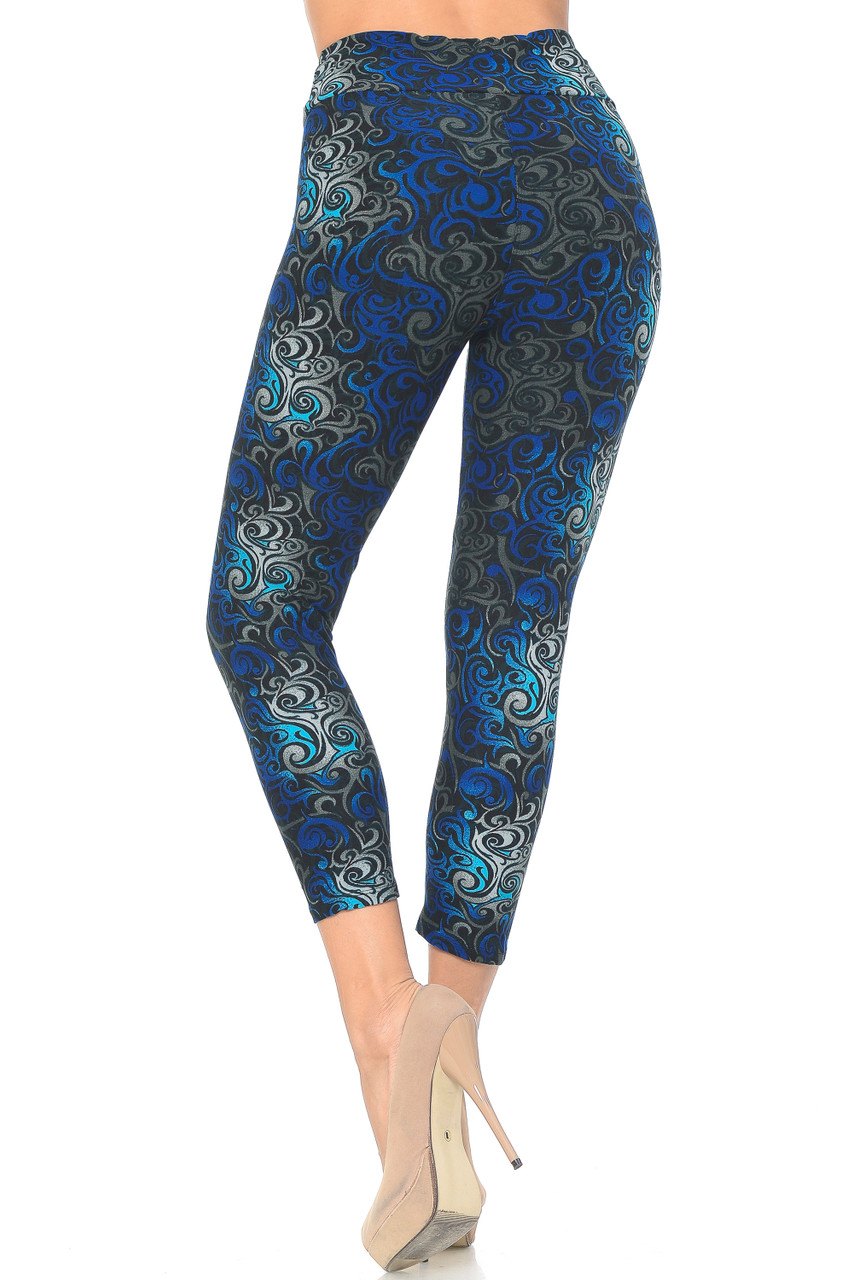 Back view image of Blue Buttery Soft Tangled Swirl High Waisted Plus Size Capri - EEVEE