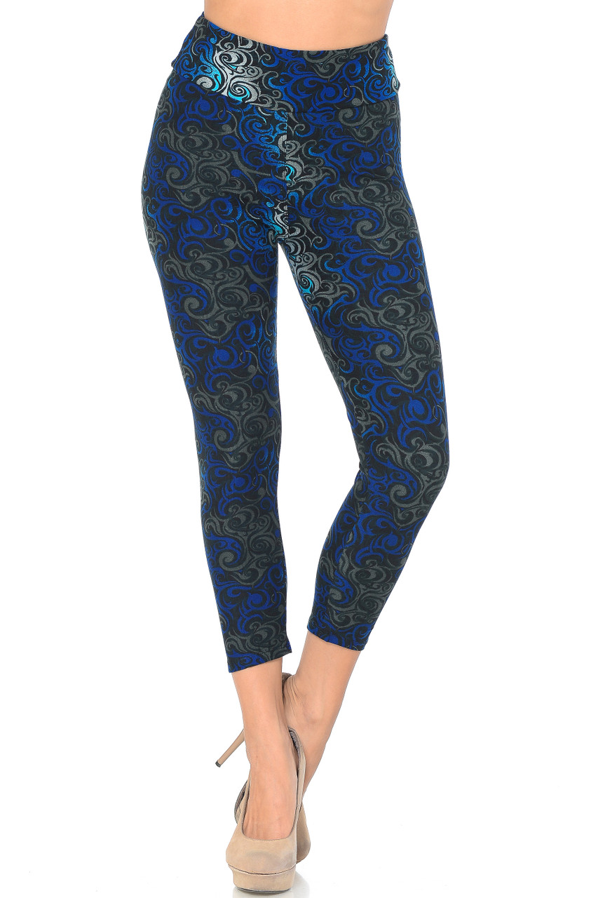 Front view of Blue Buttery Soft Tangled Swirl High Waisted Plus Size Capri - EEVEE