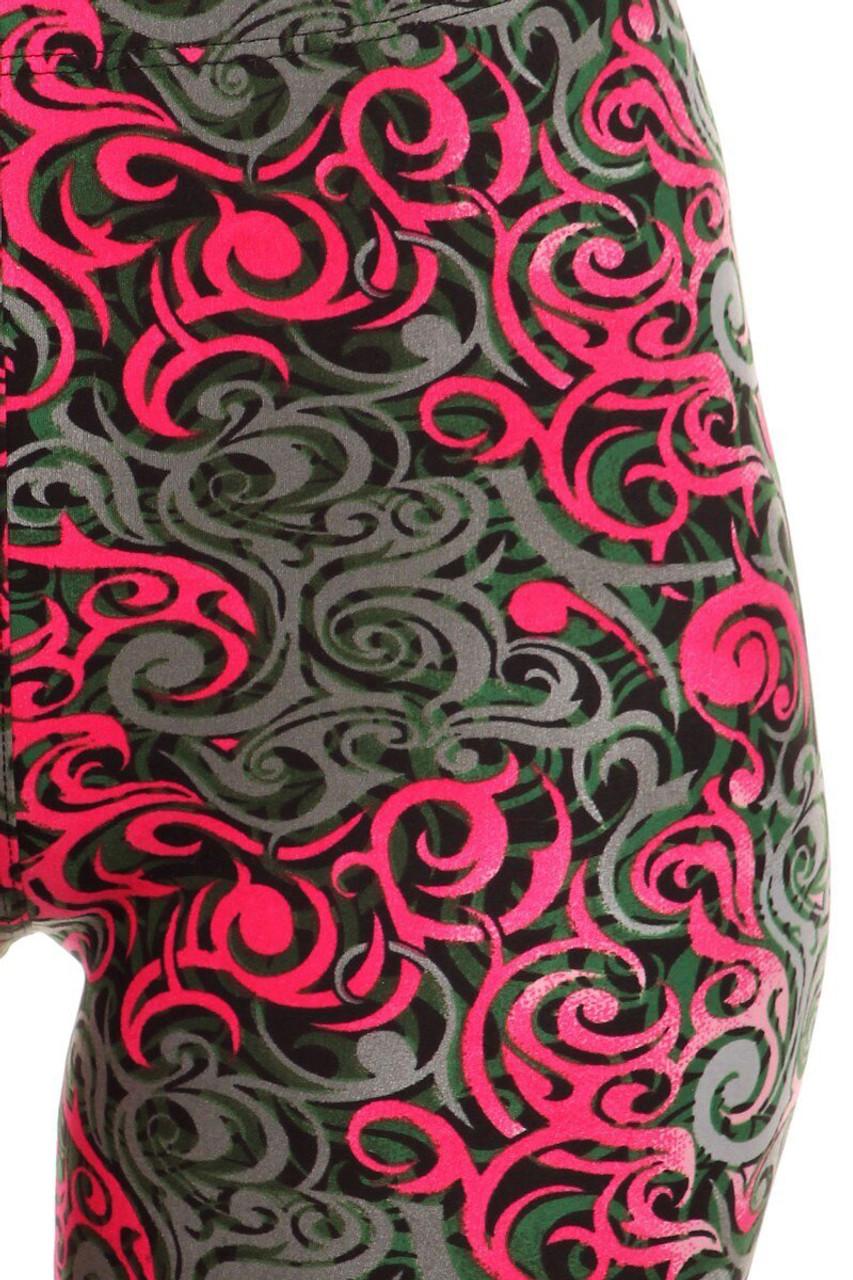 Close up of Fuchsia Buttery Soft Tangled Swirl High Waisted Plus Size Capri - EEVEE