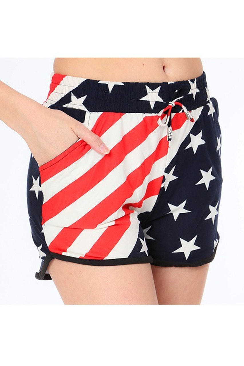 Right side view showing the functional pocket on our Buttery Soft Swirling USA Flag Dolphin Shorts