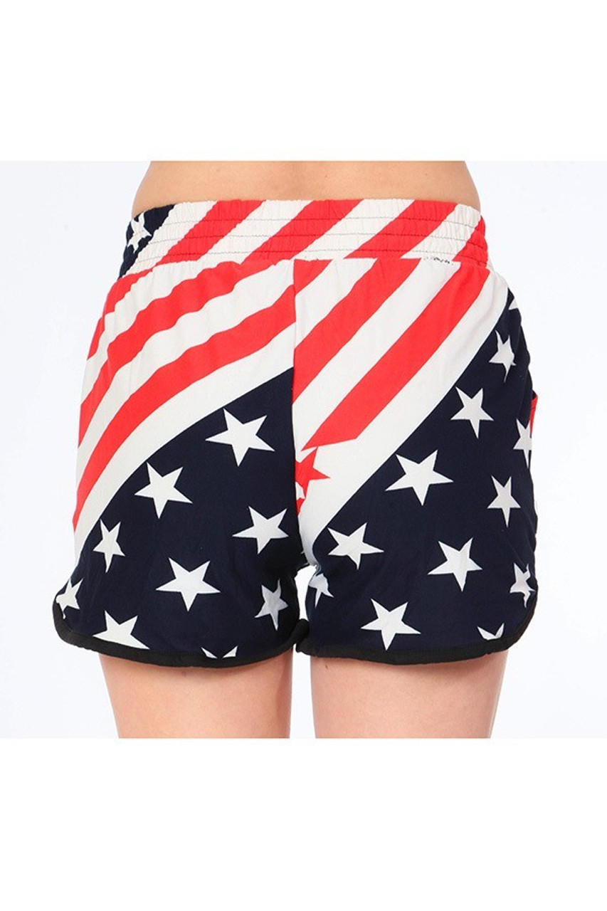 Back view of our non-clingy fit Buttery Soft Swirling USA Flag Dolphin Shorts