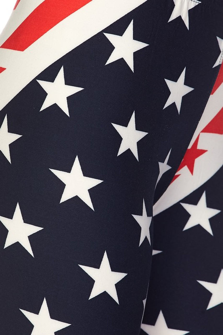 Close up swatch image of Buttery Soft Star Swirl USA Flag Leggings