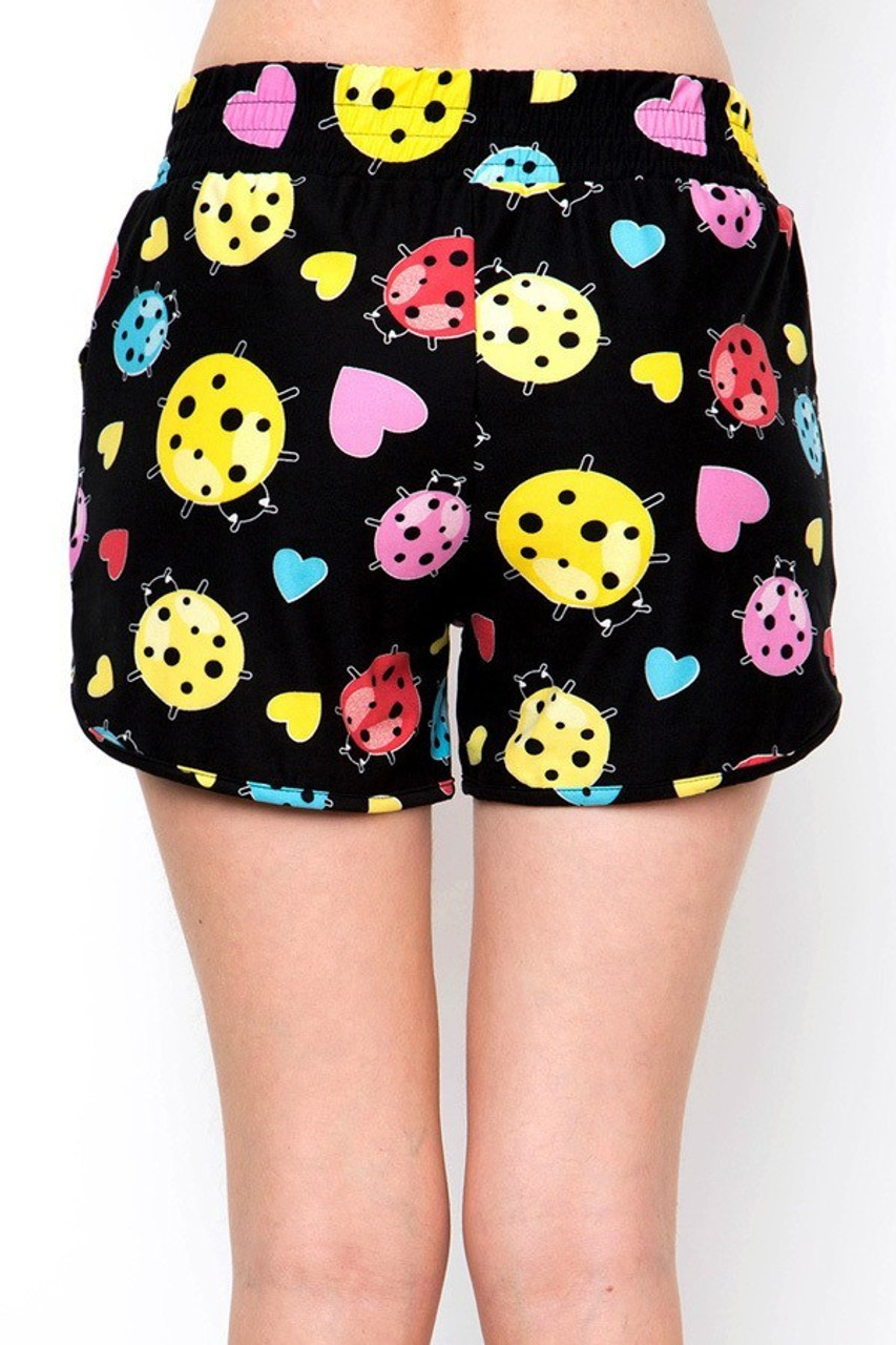 Back view of our Buttery Soft Ladybugs and Hearts Dolphin Shorts with a comfortable non clingy fit.
