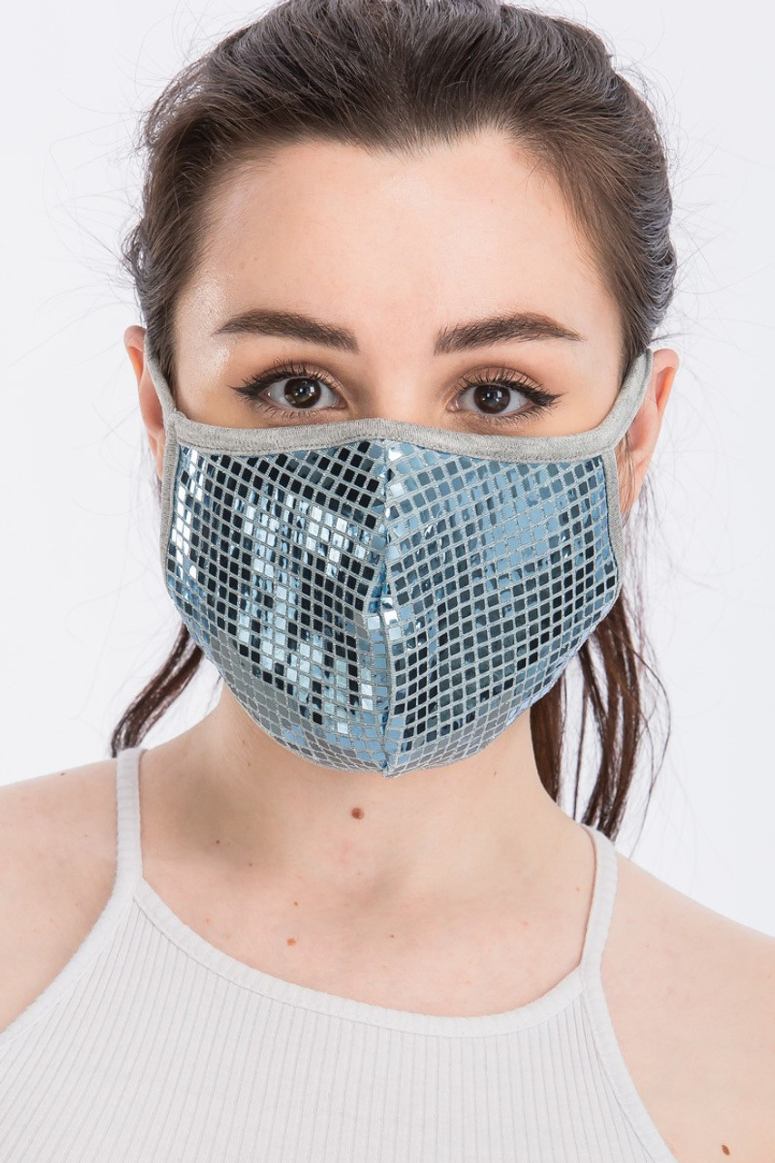 Front view of silver Square Bling Sequin Fashion Face Mask - Made in USA