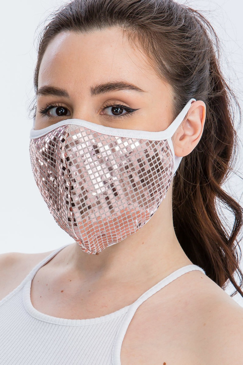Left side view of Pink Square Bling Sequin Fashion Face Mask - Made in USA