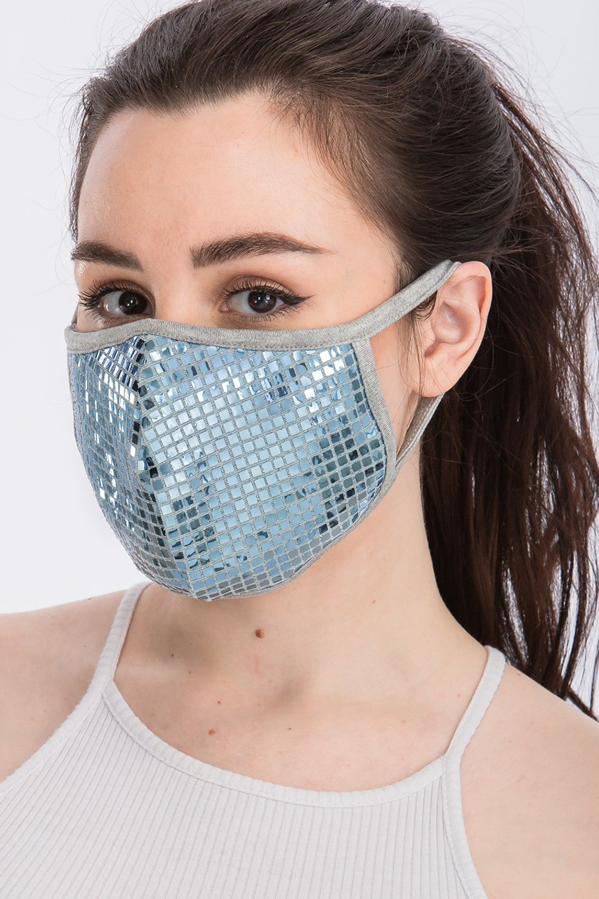 Left side view of Blue Square Bling Sequin Fashion Face Mask - Made in USA