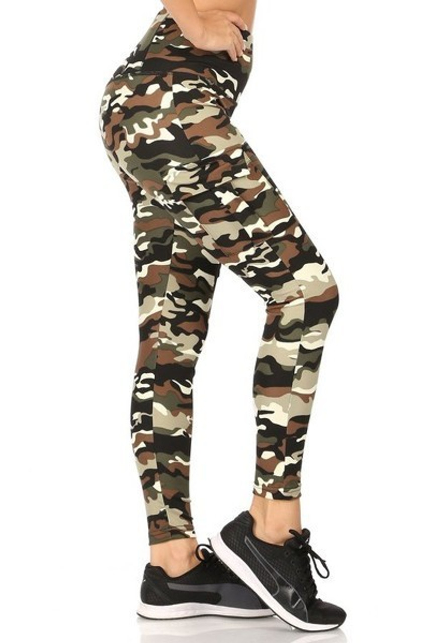 Right side view of our Camouflage Sport Leggings with Cargo Pocket with a classic army print design.