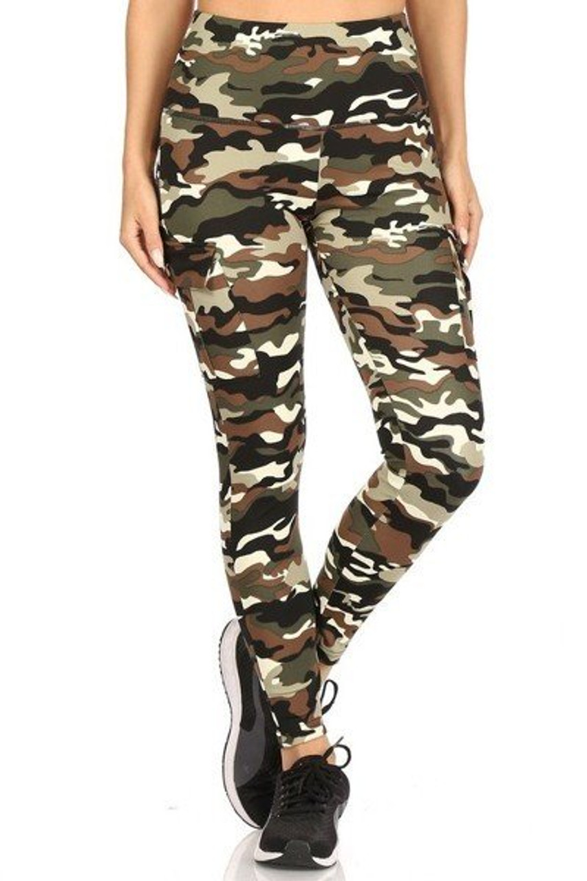Front view of Camouflage Sport Leggings with Cargo Pocket with a layered high tummy control waist that shapes and supports.