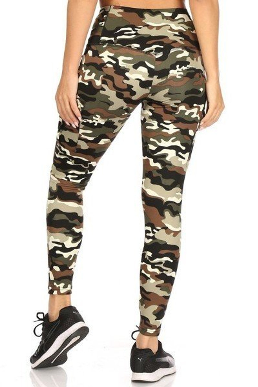 Read view of our body forming Camouflage Sport Leggings with Cargo Pocket  featuring a wonderful and durable four-way stretch fabric.