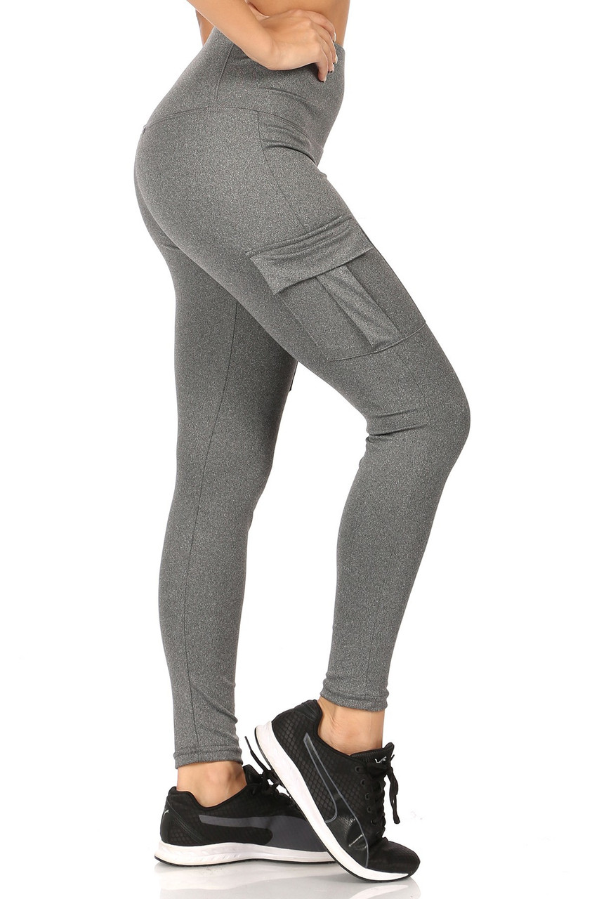 Right side view of Charcoal Solid High Waist Tummy Control Sport Leggings with Cargo Pocket