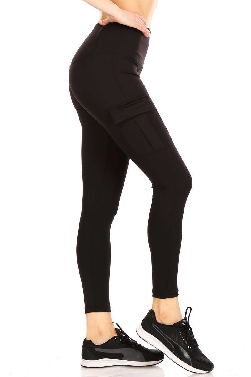 Right side view of Black Solid High Waist Tummy Control Sport Leggings with Cargo Pocket