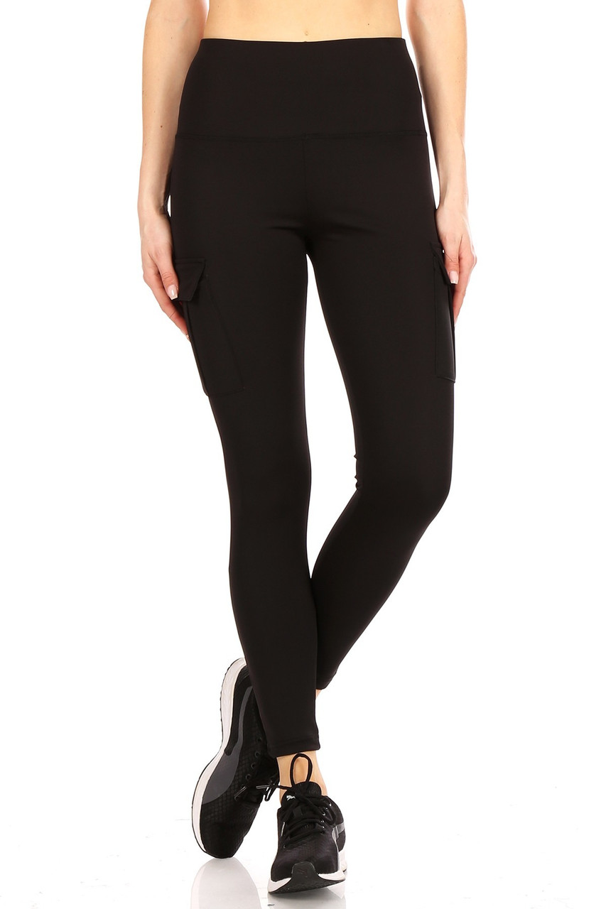 Front view of Black Solid High Waist Tummy Control Sport Leggings with Cargo Pocket with a layered high tummy control waist that shapes and supports.