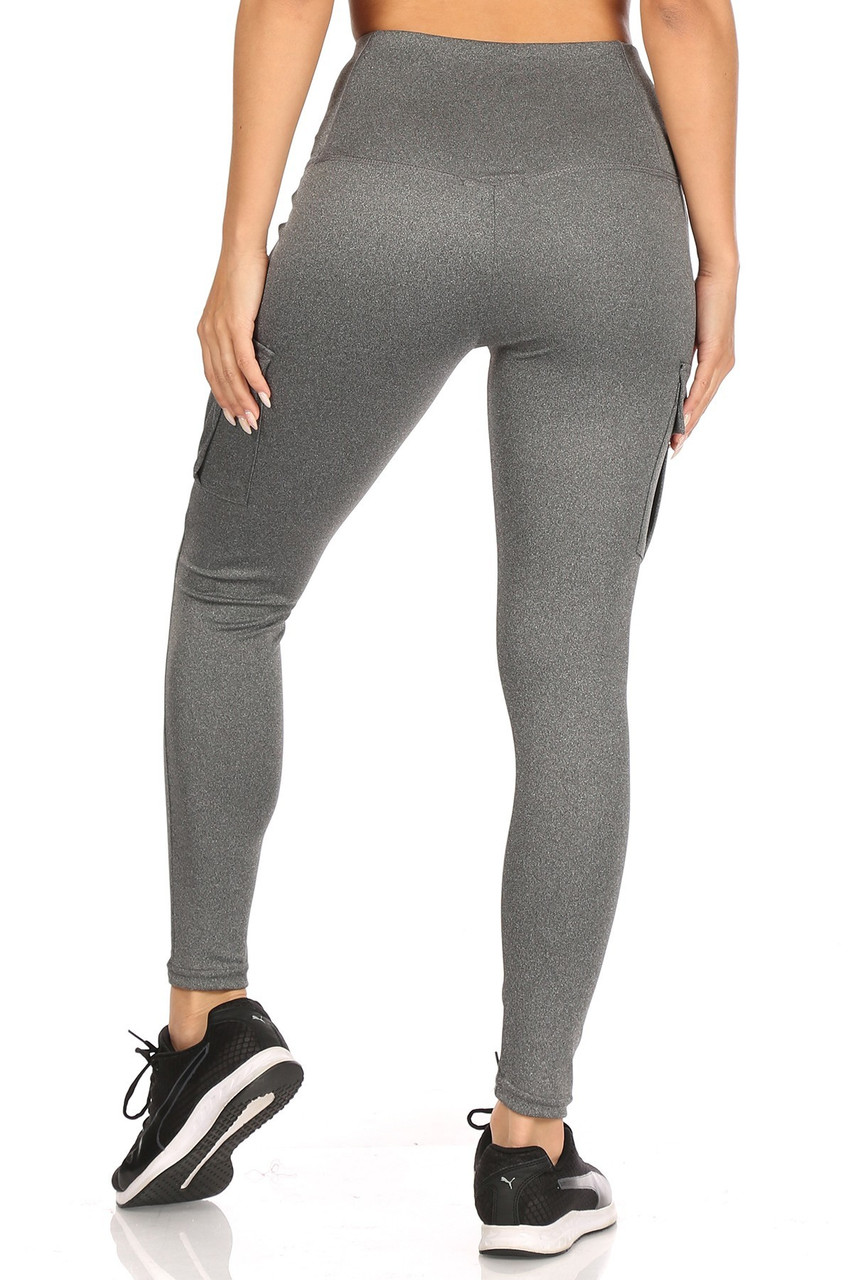 Rear view of Charcoal Solid High Waist Tummy Control Sport Leggings with Cargo Pocket