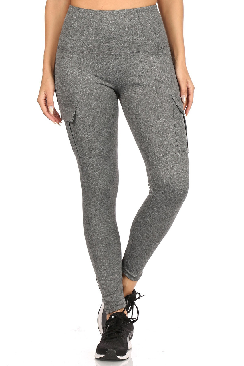 Front view of Charcoal Solid High Waist Tummy Control Sport Leggings with Cargo Pocket