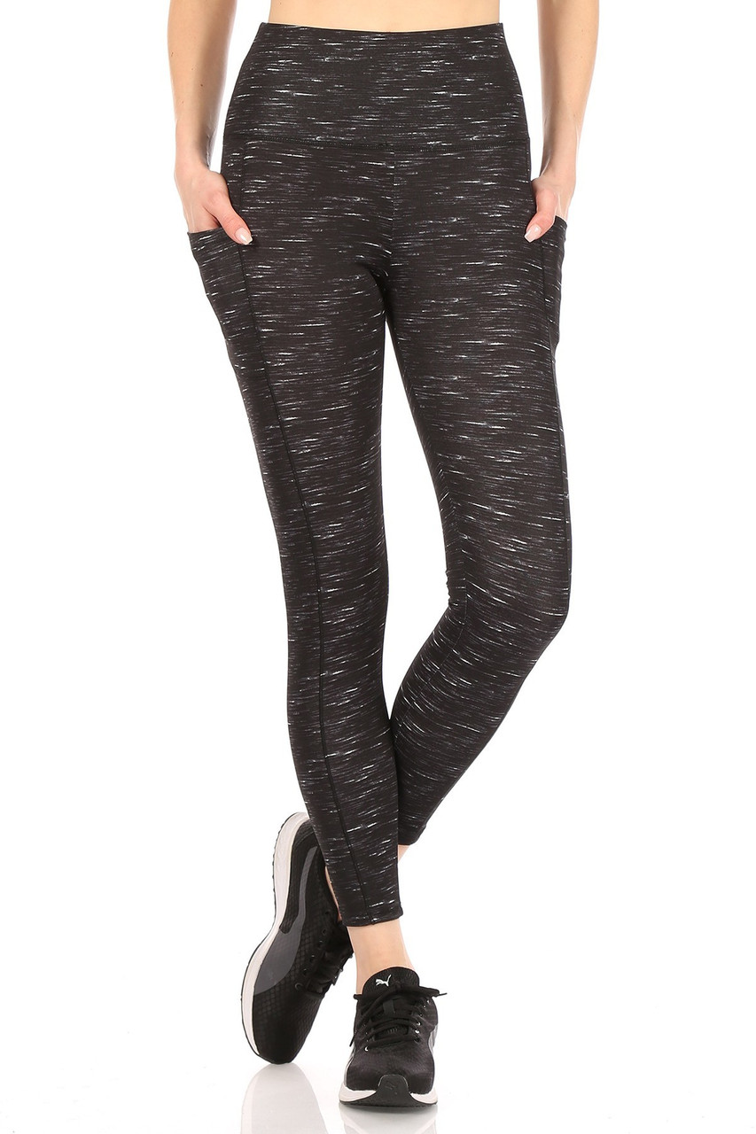 Front Black Space Dyed High Waist Tummy Control Sport Leggings with a black base featuring white accents and a layered high tummy control waist that shapes and supports.