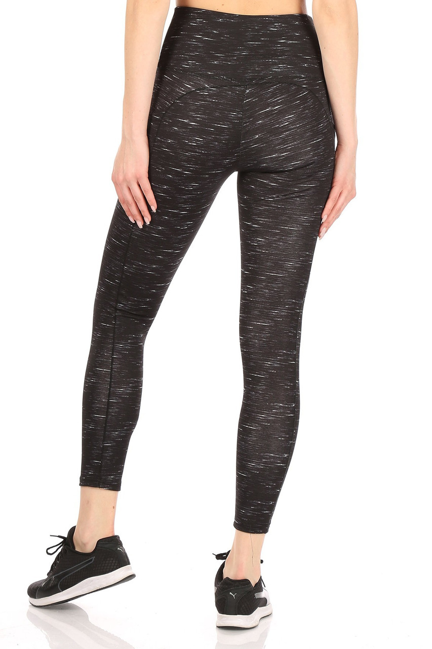 Rear view of our body forming Black Space Dyed High Waist Tummy Control Sport Leggings featuring a wonderful and durable four-way stretch fabric.