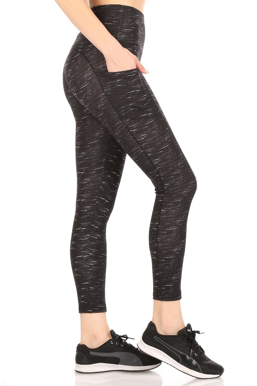 Right side view of Black Space Dyed High Waist Tummy Control Sport Leggings