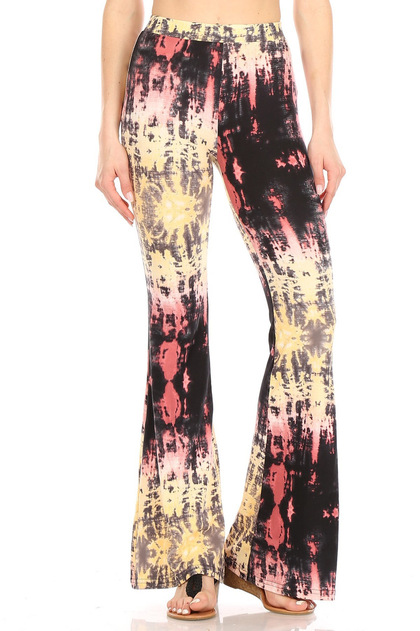 Front view of Buttery Soft Yellow Pastel Tie Dye Bell Bottom Leggings featuring a colorful look that can be dressed up or down.