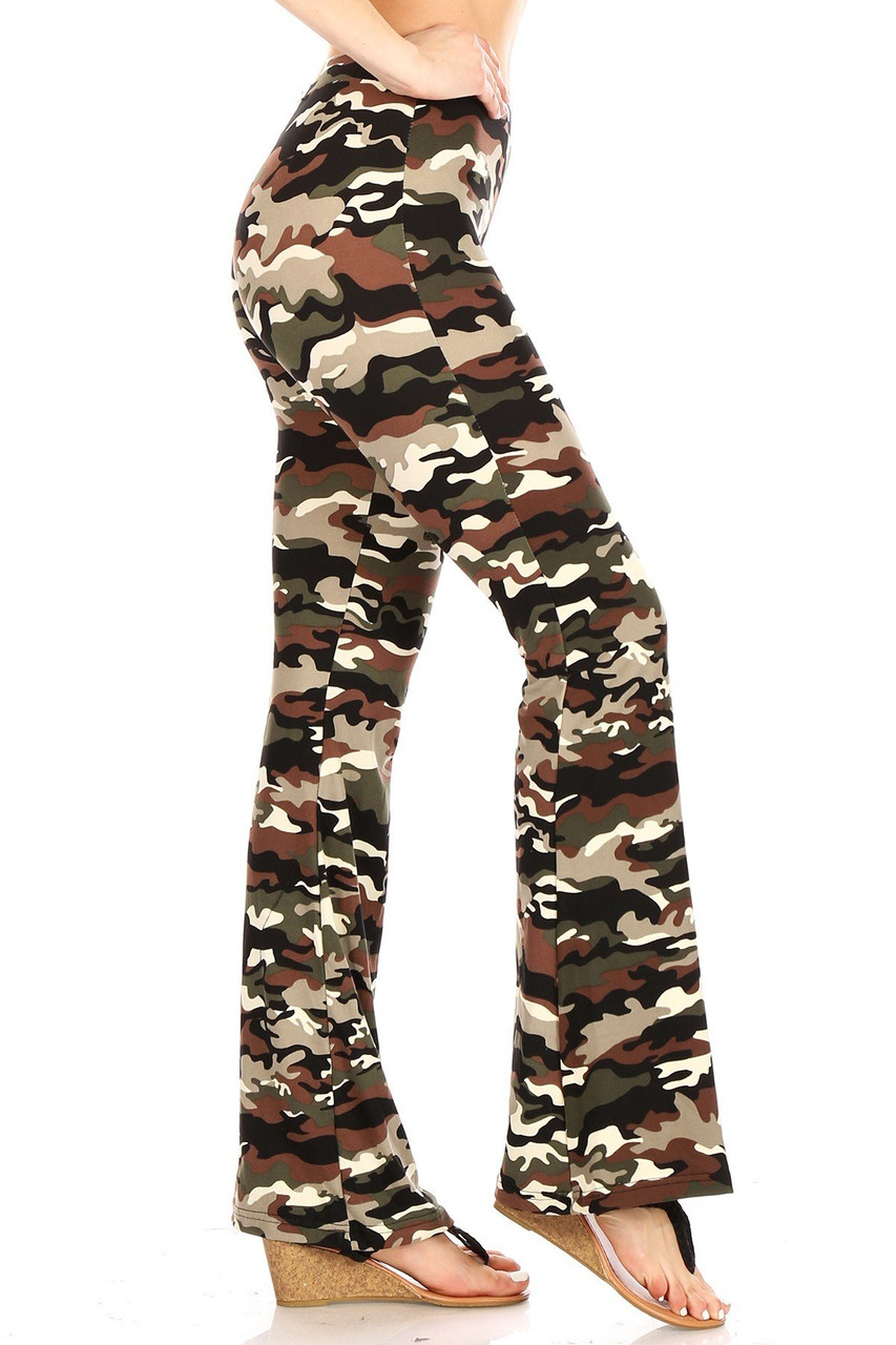 Right side view of Buttery Soft Olive Camouflage Bell Bottom Leggings featuring an all over classic army print design.