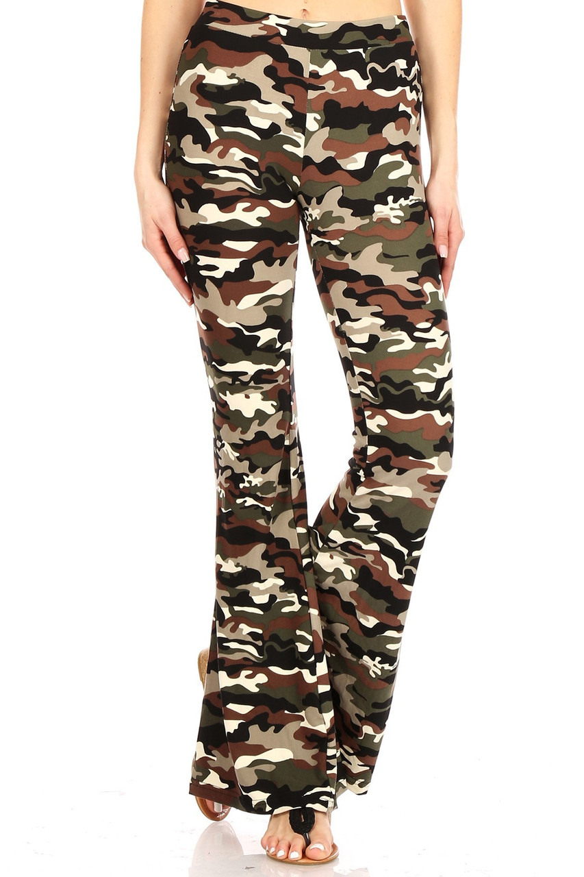 Front view image of Buttery Soft Olive Camouflage Bell Bottom Leggings with a flared leg cut.