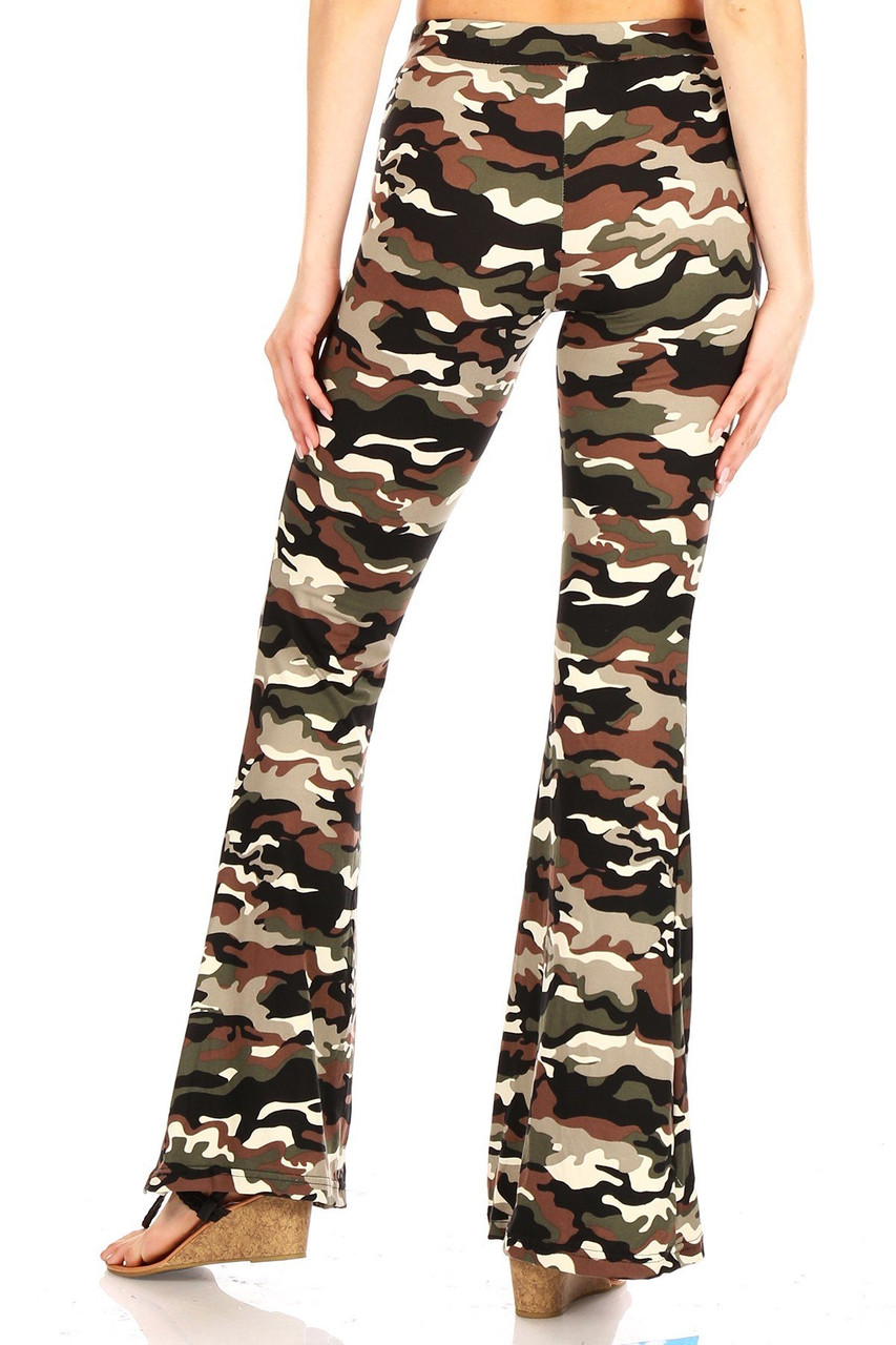 Back view of Buttery Soft Olive Camouflage Bell Bottom Leggings with a fitted upper half and loose fit lower leg.