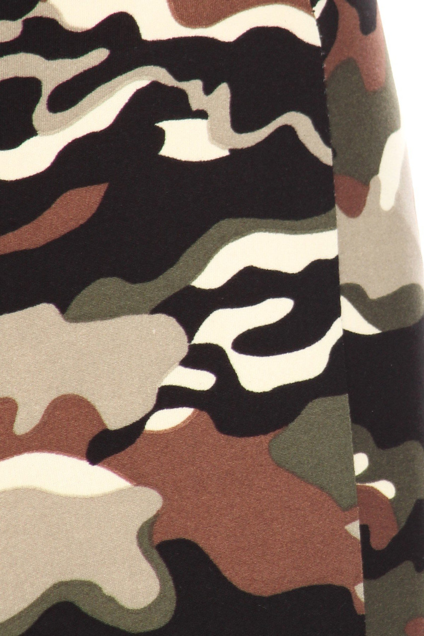Close up fabric swatch of Buttery Soft Olive Camouflage Bell Bottom Leggings
