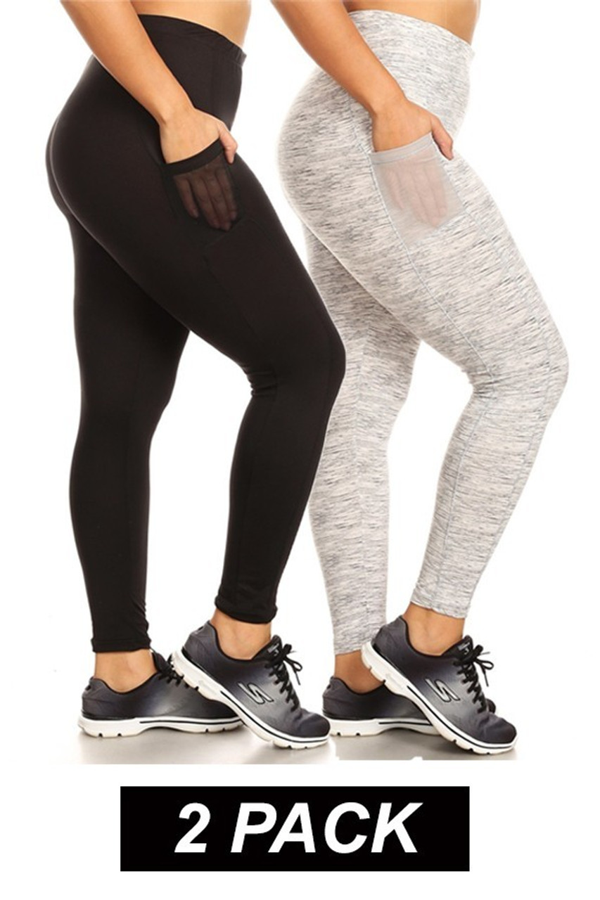 Right side by side view showing both colors in  Women's Mesh Pocket Workout Leggings  Black Heather Gray - 2 Pack