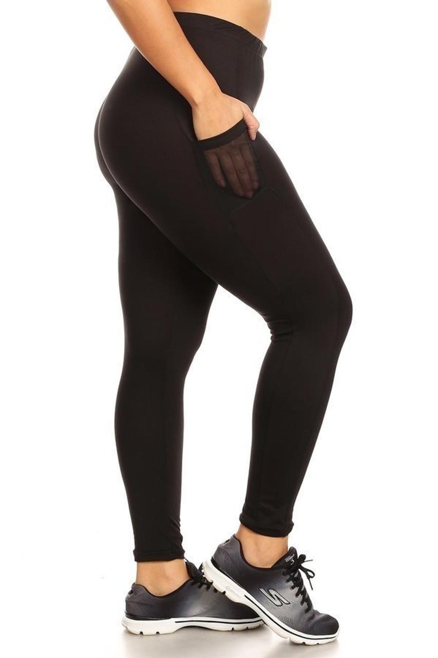 Right side view of Black Women's Mesh Pocket Workout Leggings