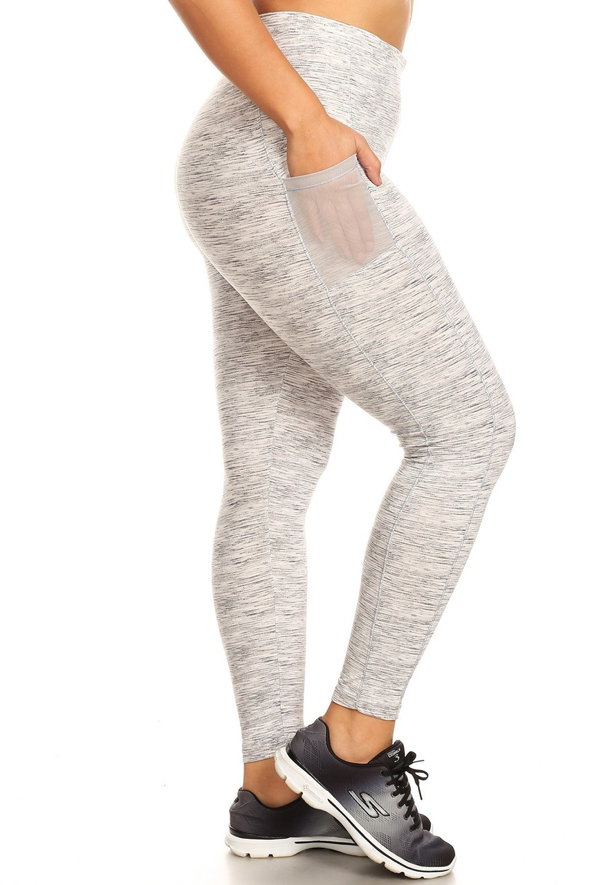Right side view of Heather Gray Women's Mesh Pocket Workout Leggings