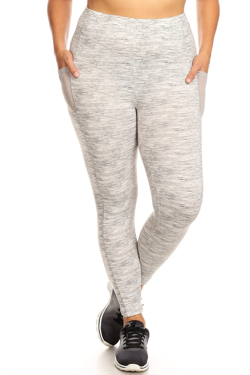 Front view of Heather Gray Women's Mesh Pocket Workout Leggings